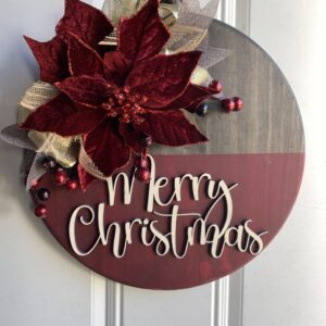 Gold & Burgundy Poinsettia Christmas Sign