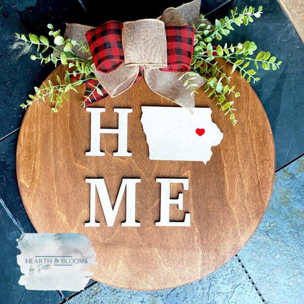 Home in Iowa 18″ Door Hanger – Personalized