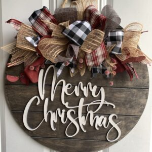 Rustic Burlap & Buffalo Plaid Christmas Sign