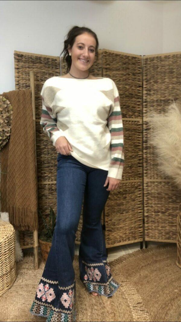 Cream Combo Sweater