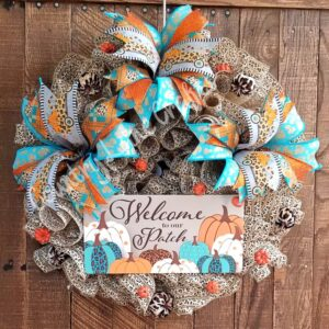 Welcome to Our Patch Cheetah Print Fall Décor Wreath
