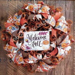 Welcome Fall Harvest Front Door Décor Wreath