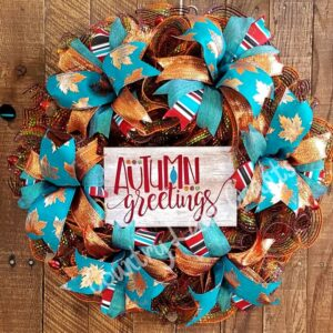 Autumn Greetings Copper & Teal Fall Front Door Wreath