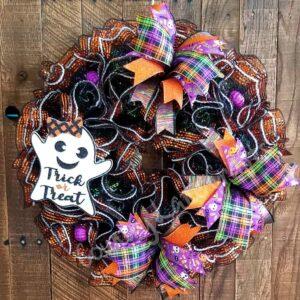 Ghost Trick or Treat Halloween Front Door Wreath