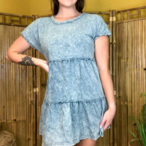 Drop Shoulder Washed Tiered Knit Tunic Dress