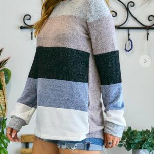 Plus size Loose Fit Color Block Long Sleeve