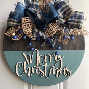 Blue & Burlap Merry Christmas Sign