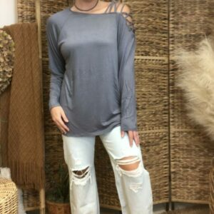 Jersey Knit One Shoulder Top With Criss Cross Strap