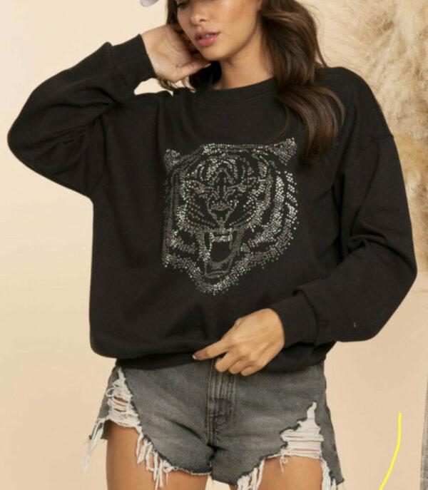 Studded Tiger Crewneck Sweatshirt