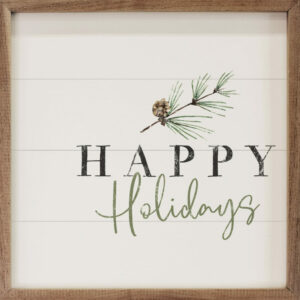 Happy Holidays Pine Branch White – Kendrick Home Wood Sign
