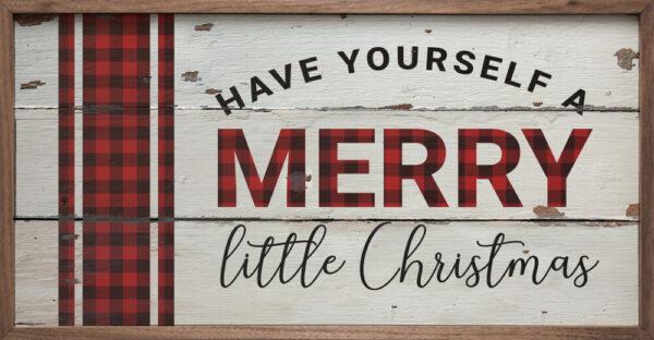 Merry Little Christmas Plaid Whitewash – Kendrick Home Wood Sign