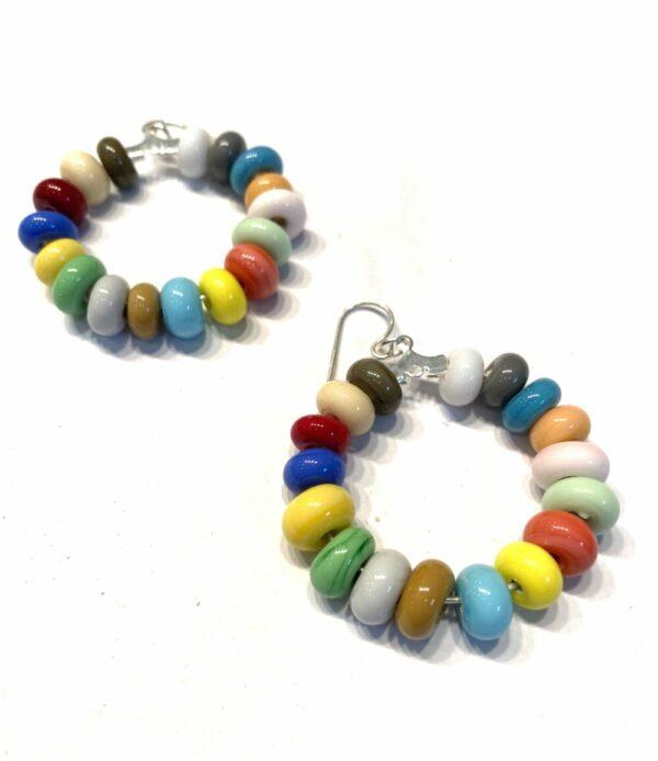 Multicolor Beaded Hoop Earrings