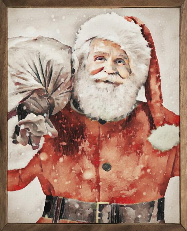 Santa Carrying Bag Watercolor – Kendrick Home Wood Sign