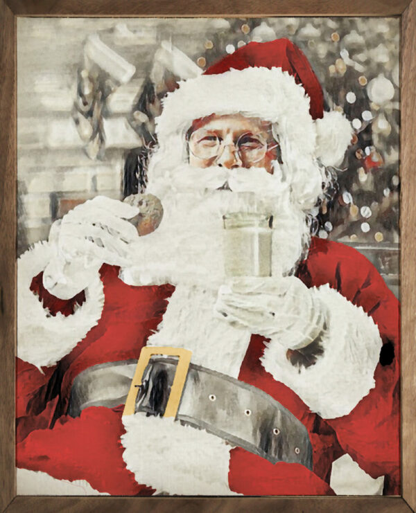 Santa with Cookie Watercolor – Kendrick Home Wood Sign