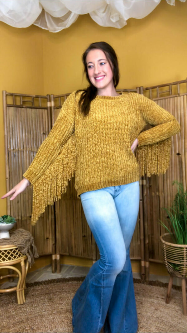 Soft Chenille Sweater With Fringed Sleeves