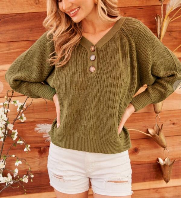Button Vneck Sweater (More Colors)