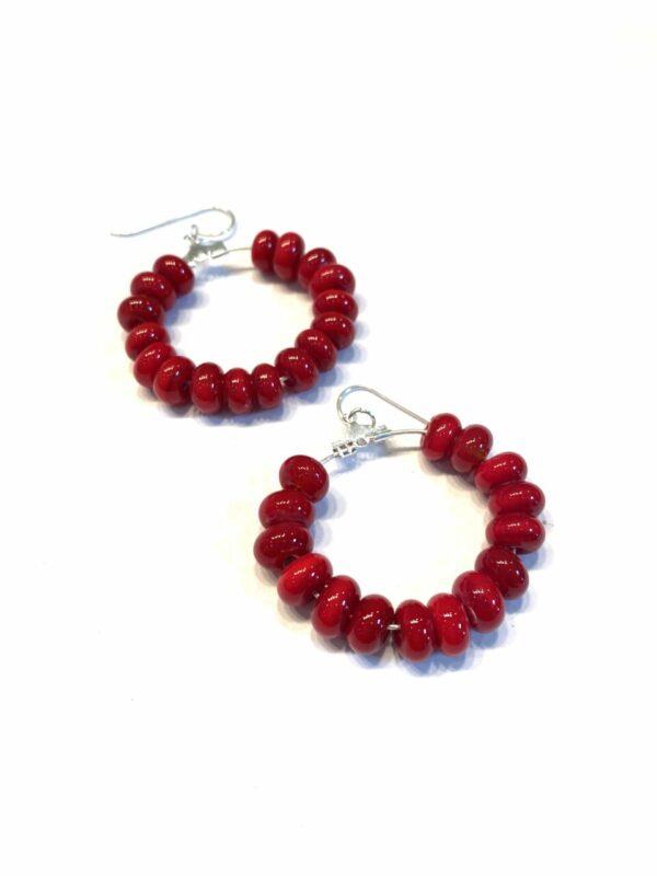 Red Glass Beaded Drop Hoop Earrings