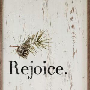 Rejoice Pinecone Whitewash – Kendrick Home Wood Sign