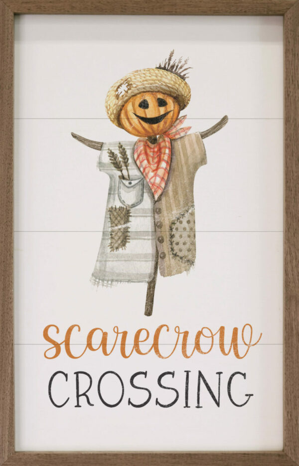 Scarecrow Crossing White – Kendrick Home Wood Sign