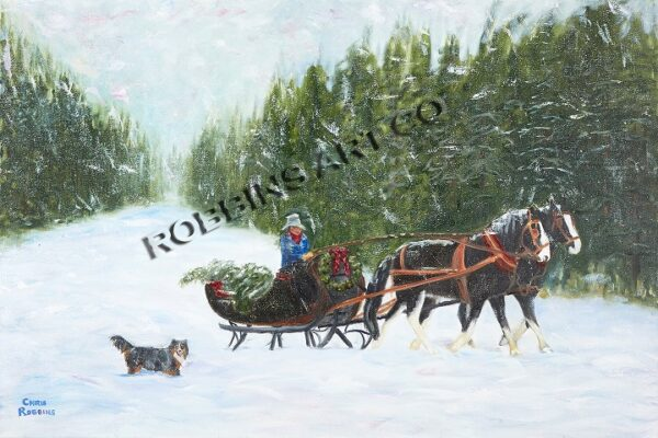 Christmas Tree Sleigh Painting by Chris Robbins