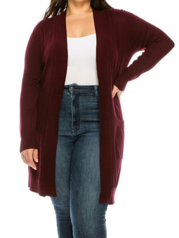 Medium Length Open Cardigan (Plus Size) (More Colors)