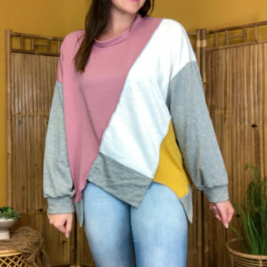 Oversized French Terry Color Block Pull Over