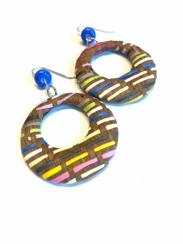 Blue Beaded Colorful Woven Earrings