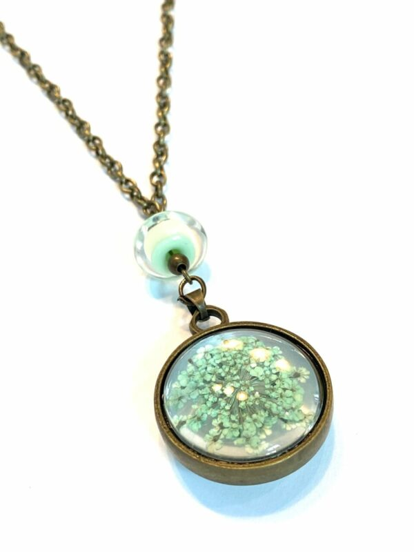 Mint Green Dried Flower Necklace