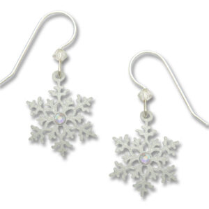 Snowflake Winter Holiday Earrings with sterling silver earwires