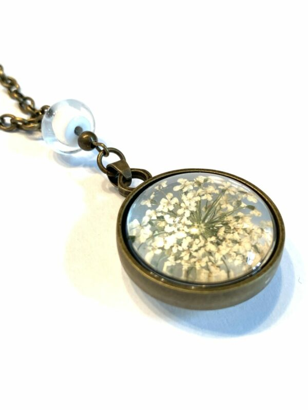 White Dried Flower Necklace