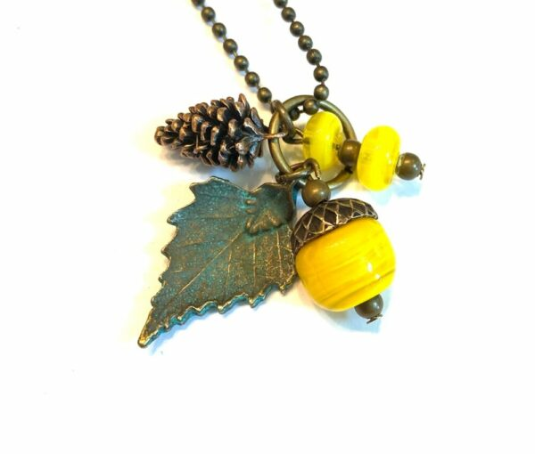 Yellow Glass Acorn Charm Necklace
