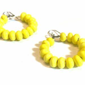 Yellow Glass Beaded Hoop Earrings
